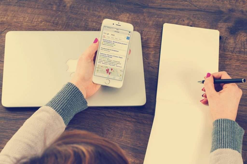 hand, iphone, macbook, google search